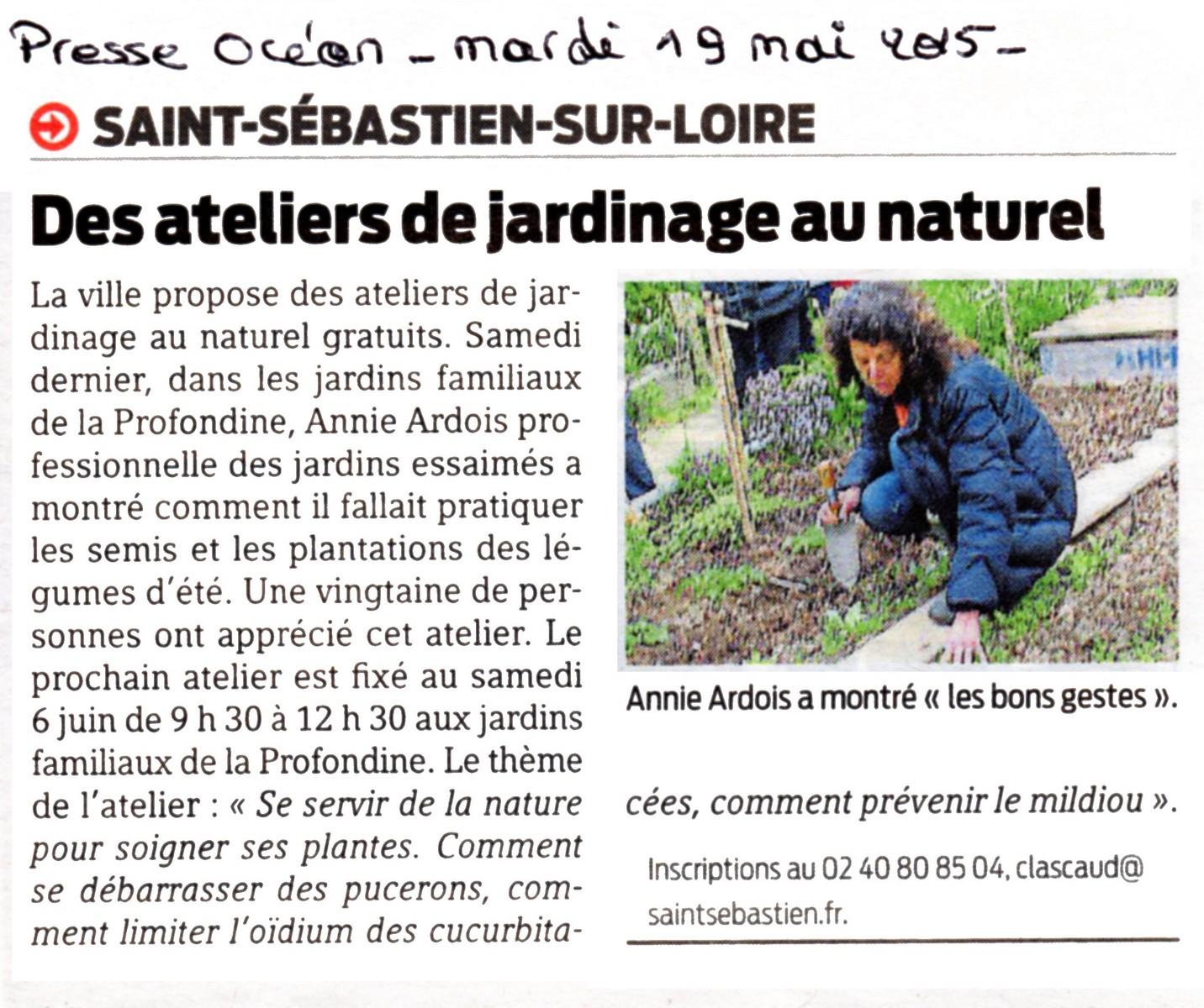 "Article de Presse Océan ""Des ateliers de jardinage au naturel"""
