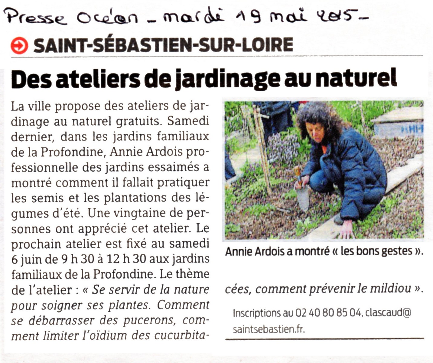Article presse oc an 19 mai 2015 les potagers essaim s for Articles de jardinage en ligne