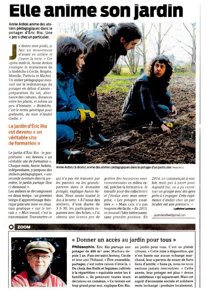 Article Presse Océan sur les ateliers pédagogiques au jardin de la Filée